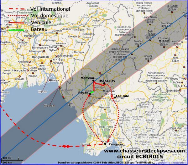 Circuit éclipse annulaire Birmanie